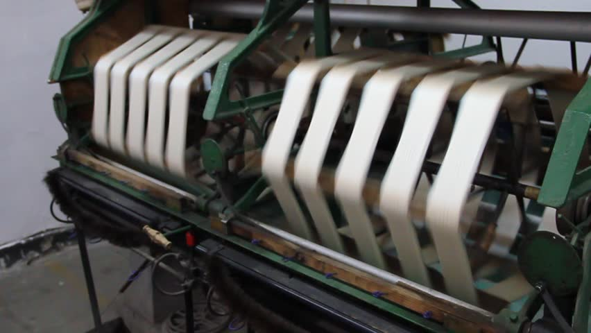 Machine producing tissues in a silk factory