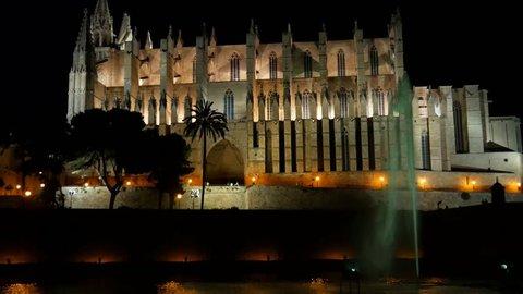 Palma Cathedral of Santa Maria at night in Palma Mallorca Spain