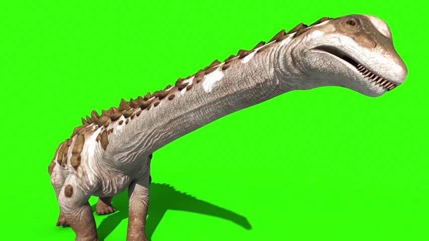 Dinosaur Titanosaur Walks Top Green Screen 3D Rendering Animation Jurassic World