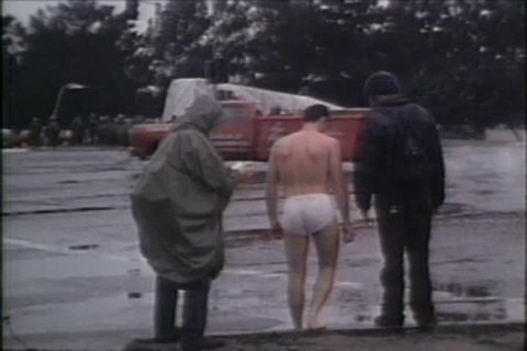 CIRCA 1980s - A man protests in his underwear at the Vandenberg Air Force Base, California against MX Missile on March 22, 1983.