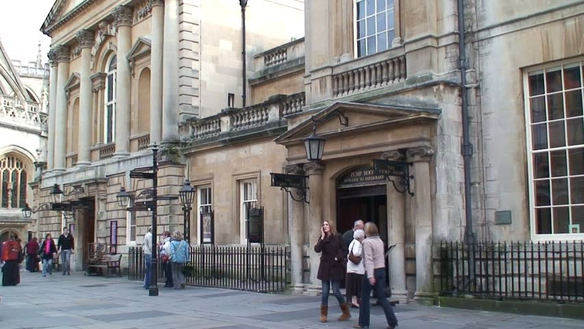 BATH, SOMERSET, UNITED KINGDOM - CIRCA 2011: Pan of Roman Baths Building and Bath Cathedral