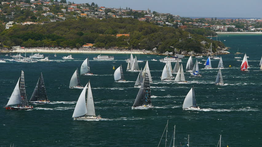 SYDNEY, AUSTRALIA - December 26 2012:yachts leave Sydney at the start of a famous yacht race