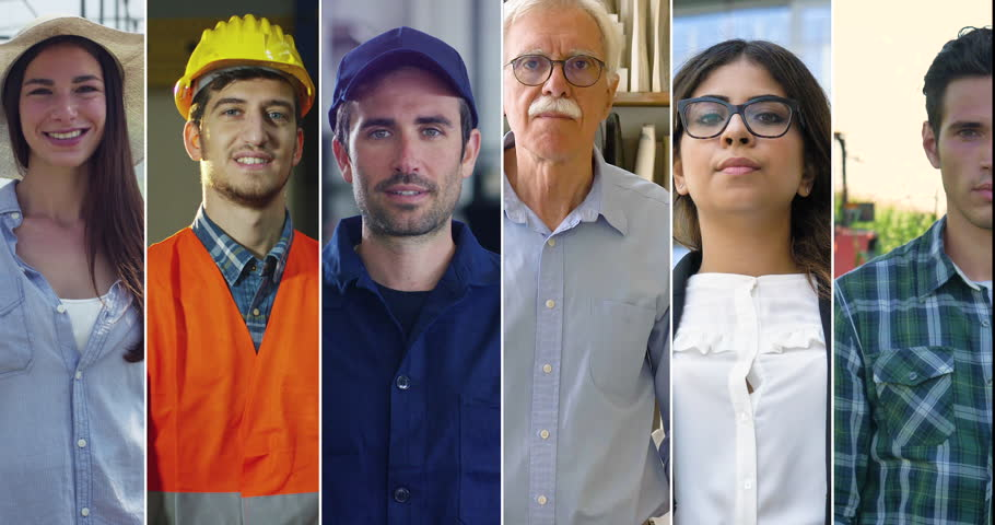 Collage of different types of workers, such as: doctor, engineer, farmer, builder, businessman, smiling and looking at camera proud of their work.