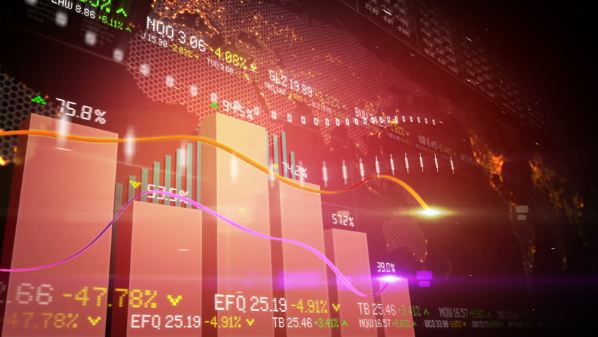 Abstract animation of bar charts and global map in the background. Seamless loop. | Shutterstock HD Video #3191368