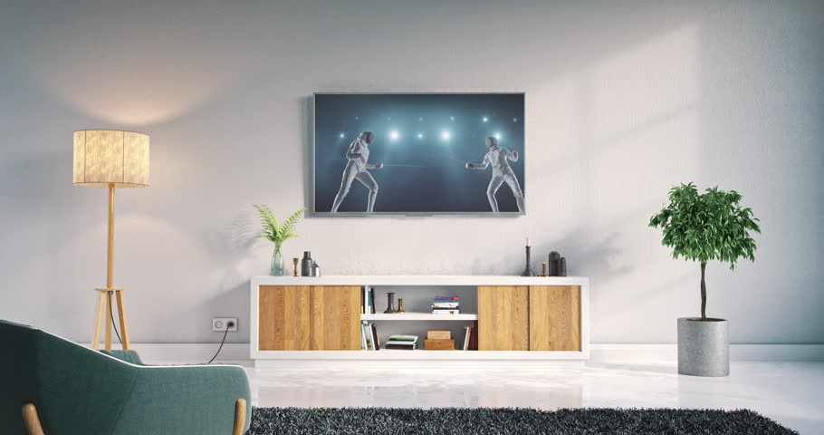 Footage Of A Living Room Led Tv On White Wall With Wooden Table And Plant In Part 68