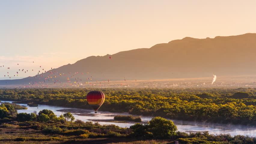 Albuquerque Balloon Fiesta Mass Ascension and Rio Grande Golden Hour Timelapse