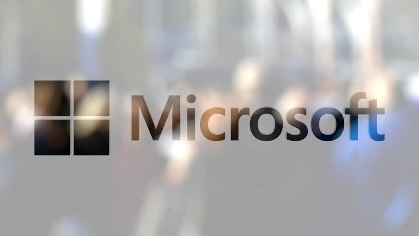 Microsoft logo on a glass against blurred crowd on the steet. Editorial 3D animation
