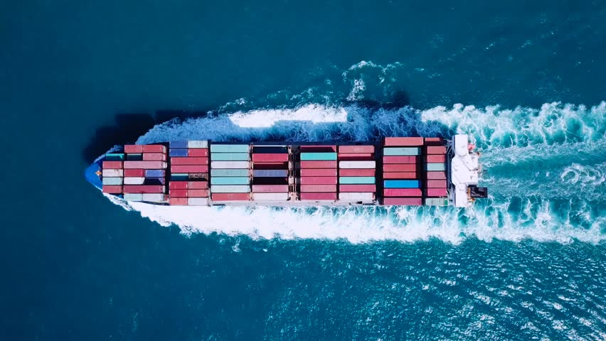 Large container ship at sea - Top down Aerial footage | Shutterstock HD Video #31963588