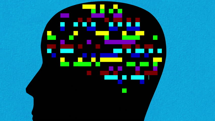 Digital animation of human head with multicolored blinking squares in the place of the brain  zooming out | Shutterstock HD Video #31963618
