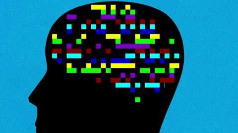 Digital animation of human head with multicolored blinking squares in the place of the brain  zooming out