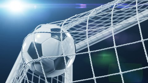 Soccer Ball flying in Goal Net and spinning in the Net in Slow Motion. Black Background and Flares. Sport Concept. Beautiful Football 3d animation of the Goal Moment. 4k Ultra HD 3840x2160.