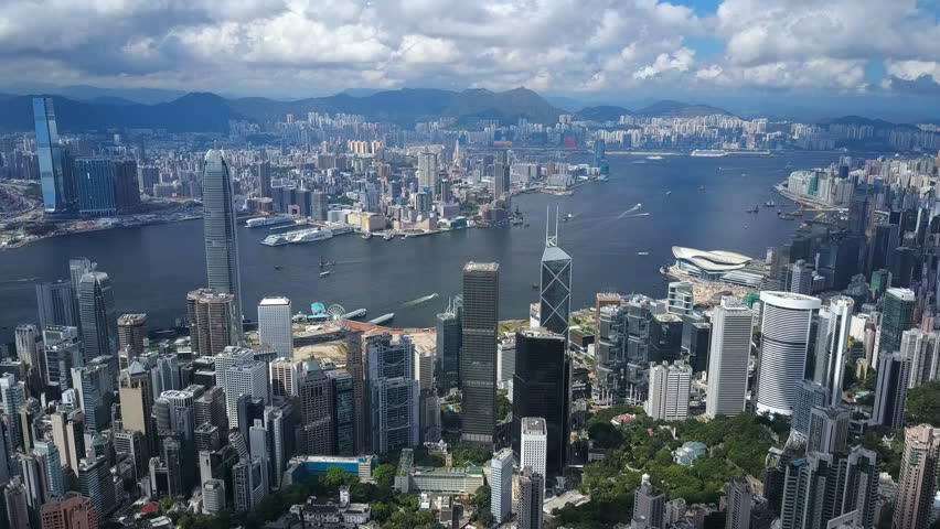 Hong Kong, China - Jun 7, 2017: 4k aerial video of Victoria Harbour in Hong Kong