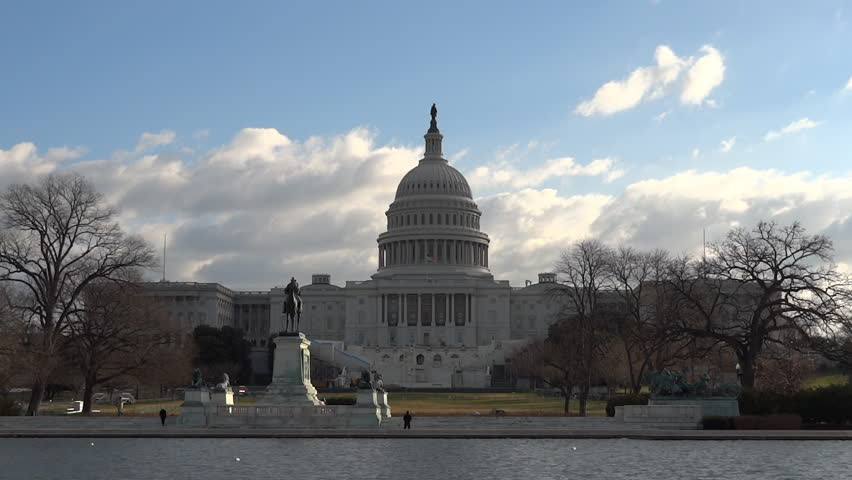 US Capitol across Reflecting Pool in winter ready for USA presidential inauguration
