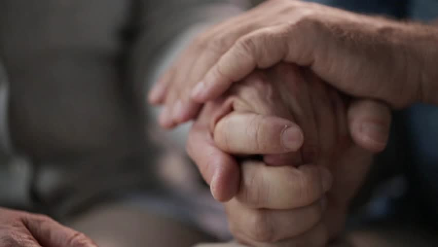 relationships, old age and people concept - senior couple holding hands #32036428