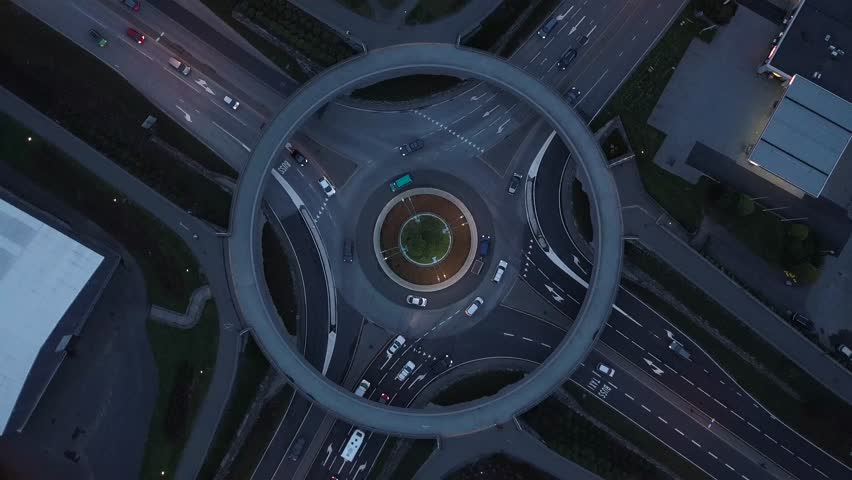 4K Roundabout in Norway Aerial Drone Perspective With Traffic, Twist Left