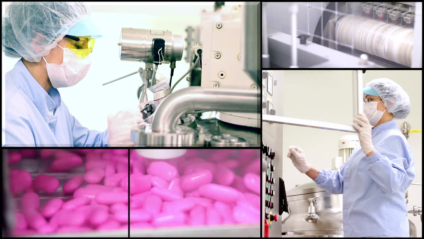 Pill manufacturing montage. Pharmaceutical Industry. Industrial Equipment. Pharmaceutical Worker. Medicine Production.