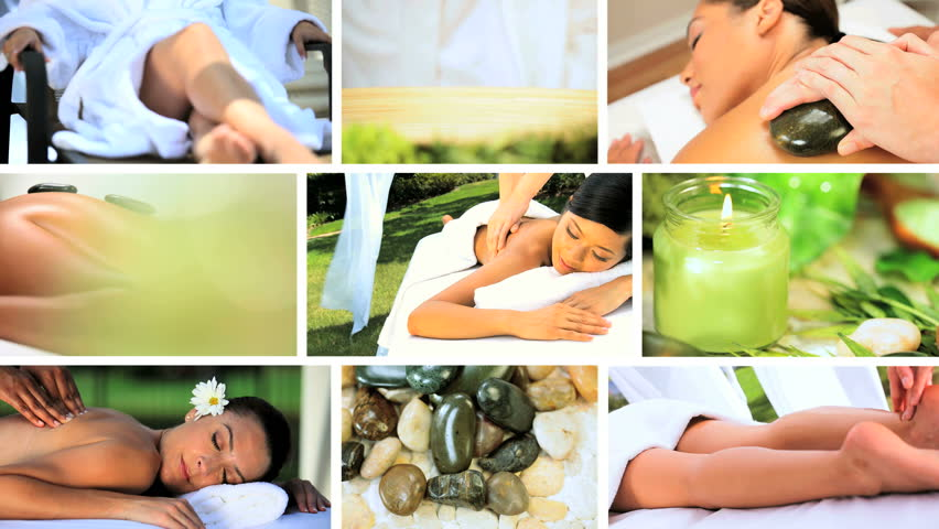Montage images of females enjoying a luxury lifestyle with relaxing spa treatments
