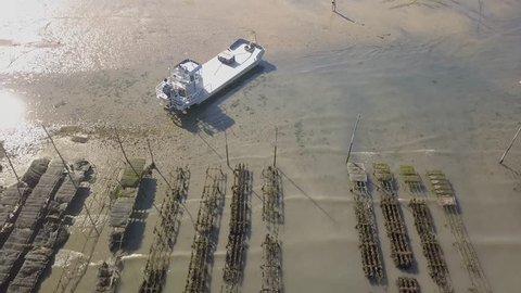 Arcachon Basin 51 (France) Aerial View of Cap Ferret  Oyster Farming