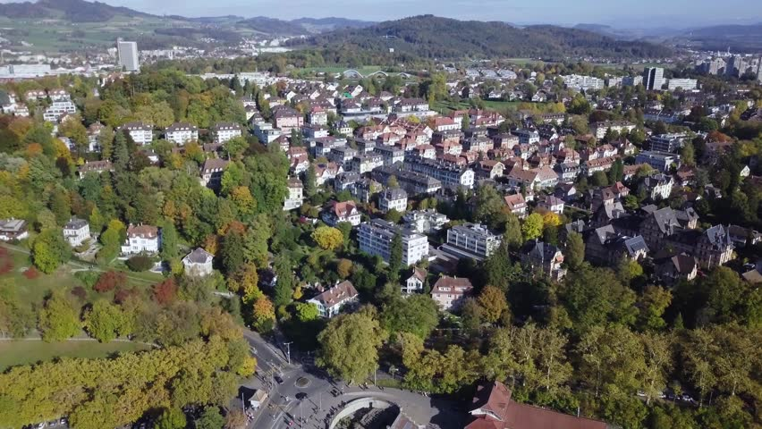 Aerial view of Bern old town, Switzerland.  Bern is the capital of Switzerland. In 1983, the historic old town in the centre of Bern became a UNESCO World Heritage Site