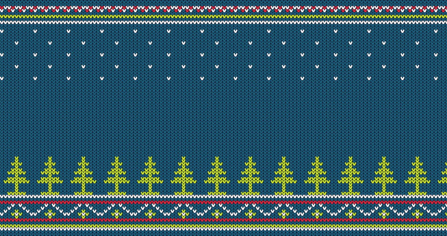 Seamless knitted pattern with Christmas trees and folk ornaments - looped animation.