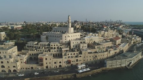 "A short fly over and around saint peter's church in ""Jaffa"" looking at Tel Aviv beaches"
