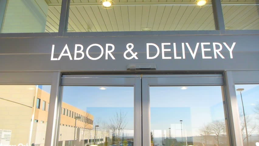 Hospital entrance front door of Labor and Delivery Unit for Pregnant women.