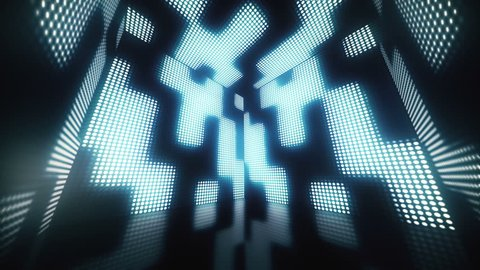 Abstract magical blue box of LEDs. 3D Render