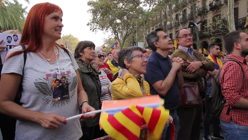 Barcelona,Catalonia,Spain - October,27,2017. Pujades Street. People at the right moment of the proclamation of the Catalonia Republic. Crowded people celebraiting.