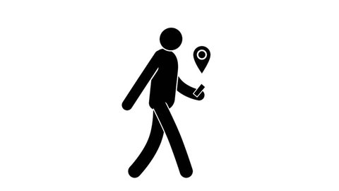 People icon comes with smartphone and GPS signal. Loop animation with  included alpha channel.
