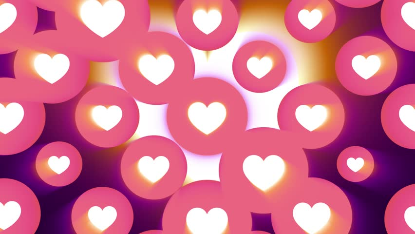 Many Heart Shape Like Icon Random Moving Animation Background Light