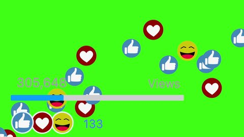 Social media icons smile thumbs and hearts animation counting up Isolated on green screen chroma key background