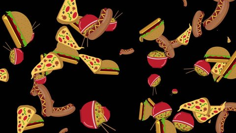 different fast food flying on black background seamless loop. fast food concept. food and drinks background. cartoon burgers, pizza, hotdog and noodles animation isolated on black background.