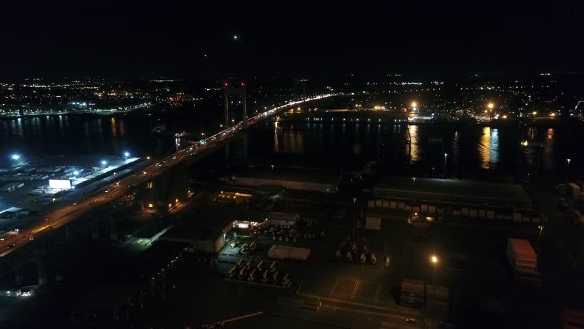 Night Aerial Flight Near Walt Whitman Bridge Philadelphia | Shutterstock HD Video #32239828