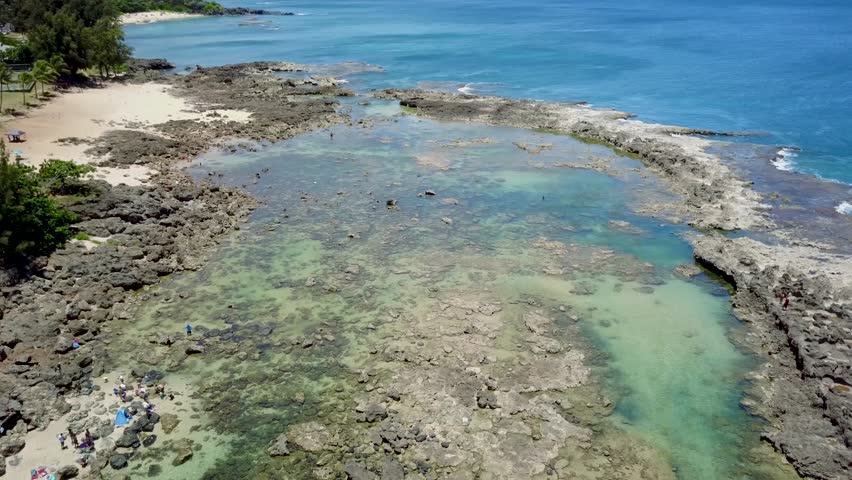 Aerial view of pupukea beach park aka sharks cove on for Shore fishing oahu