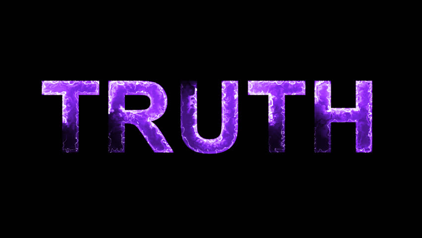 Luminous and shimmering haze inside the letters of the word TRUTH. Transparent, Alpha channel