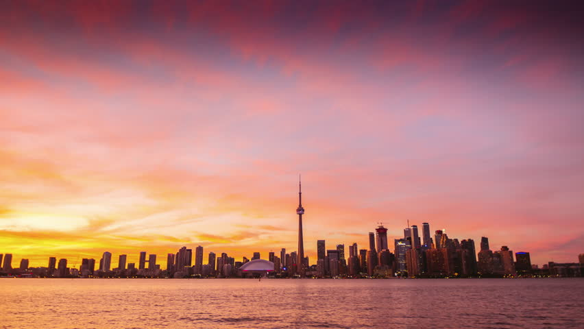 Wide angle video: City of Toronto Sunset Time Lapse Day To Night