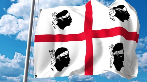 Waving flag of Sardinia, a region of Italy