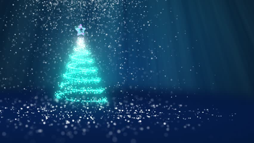 Christmas tree from glow shiny particles on the left in wide angle shot. Winter theme for Xmas or New Year background with copy space. Blue 3d Xmas tree V1 with snow DOF light rays rotating space