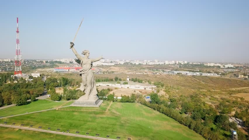 Sculpture The Motherland Calls! - compositional center of monument-ensemble to Heroes of Battle of Stalingrad on Mamayev Kurgan. Early morning. Volgograd, Russia, From Dron, Departure of the camera