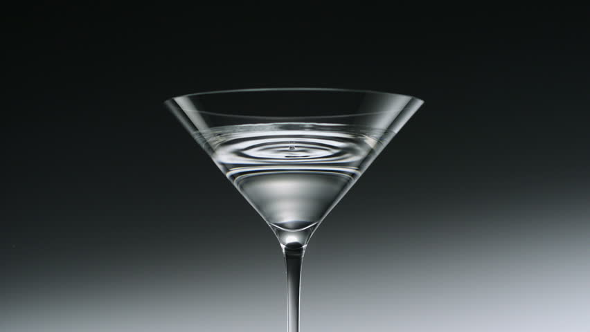 Water drop in martini glass shooting with high speed camera, phantom flex.