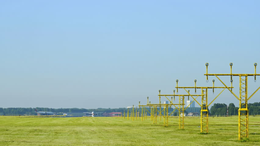 T/L View of airplanes taking off from Amsterdam / Amsterdam, Netherlands