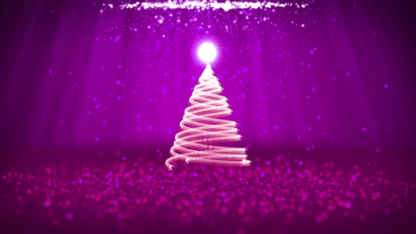 Wide angle shot of winter theme for Christmas or New Year background with copy space. Xmas tree from particles in mid-frame. 3d Xmas tree V9 with glitter particles DOF light rays rotating space | Shutterstock HD Video #32327758