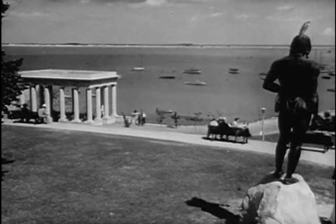CIRCA 1930s - Plymouth Rock, Burial Hill, Bunker Hill, Beacon Hill, the Old North Church, Pilgrims arriving and the Revolutionary War are shown, in New England, historically, and in 1938.