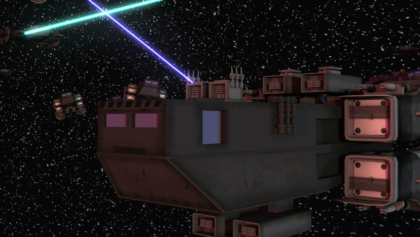 Space battle with lasers and ships
