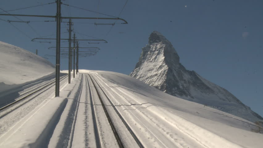 Alpine Mountain Railway Driver's View. Shot on the famous Zermatt to Gornergrat railway in Switzerland in winter in full HD 1920x1080 30p on Sony EX1