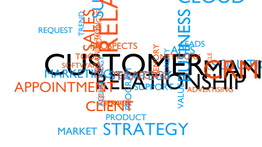 Customer relationship management (CRM) word tag cloud. 3D rendering, loop able, white variant, UHD