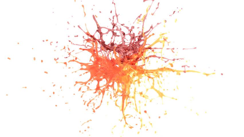 explosion of orange, grapefruit and pomegranate juice. slow motion. alpha