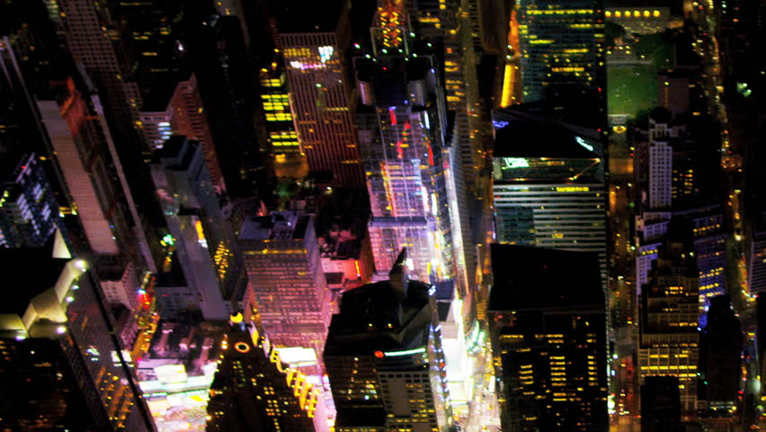 Aerial view Times Square illuminated New York, New York