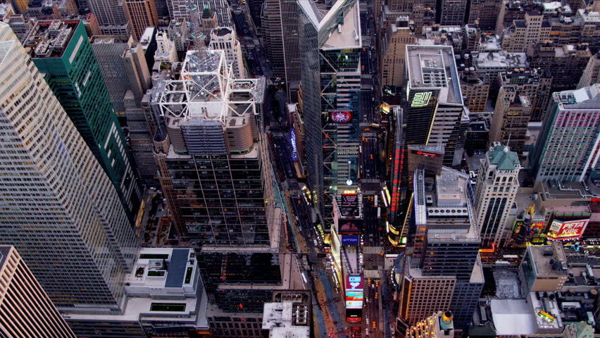 New York - August 20, 2012: Aerial view Times Square, Broadway New York in the pm | Shutterstock HD Video #3244018