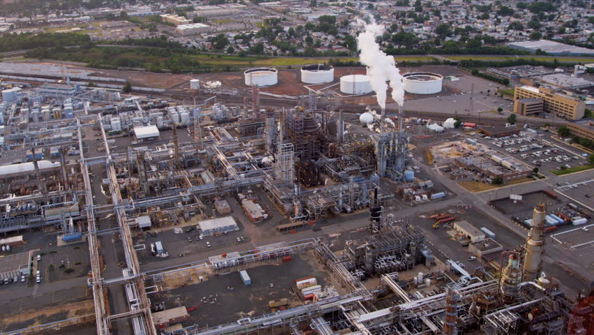 Aerial view of Industrial refinery producing energy to North America, New York | Shutterstock HD Video #3244738